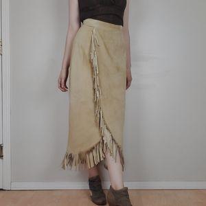 Vintage danier suede skirt with fringe